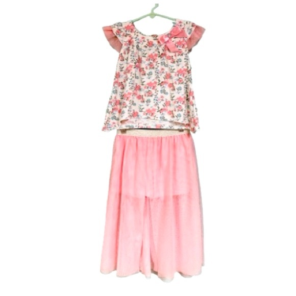 Little Lass Pink Floral Tulle Matching Outfit Sz 7